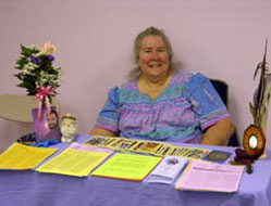 "Here's Molly Rowland at our first wholistic health fair produced by ""Wholistic Practioner's of the Winds"""